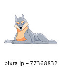 Wolf lying down. Cartoon vector flat style illustration isolated on a white background 77368832