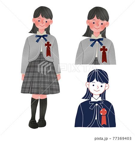 卒業式・入学式に出席する女の子人物全身手描きイラスト 77369403