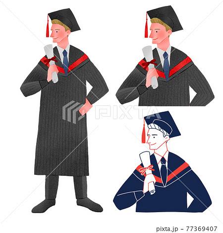 外国の卒業式に出席する男性人物全身手描きイラスト 77369407