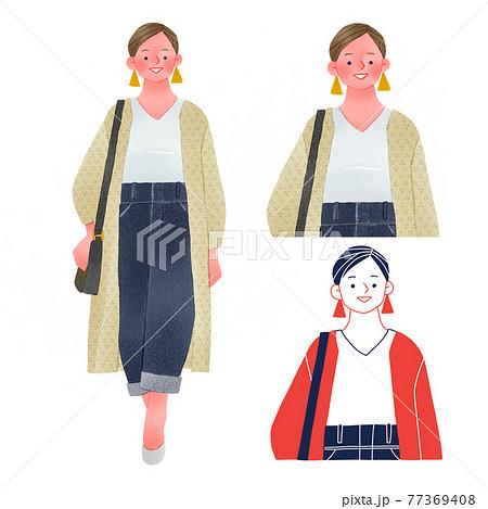 ぽっちゃりでおしゃれなファッションの若い女性人物全身手描きイラスト 77369408