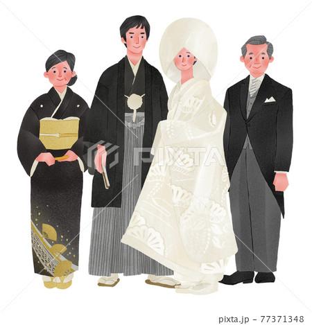 和装結婚式の家族全員人物全身手描きイラスト 77371348