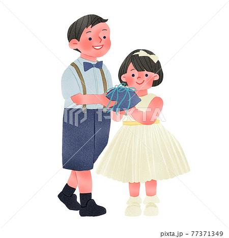 結婚式のリングボーイとガール人物全身手描きイラスト 77371349