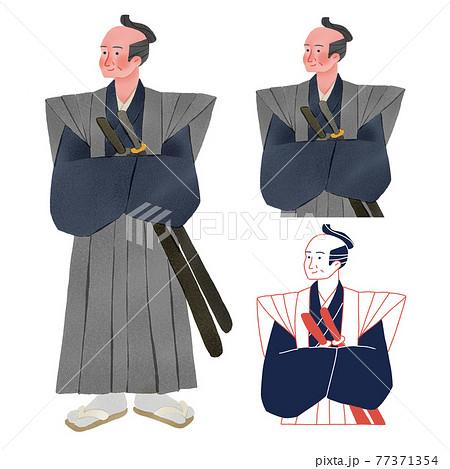 時代劇 歴史上の男性人物全身手描きイラスト 77371354
