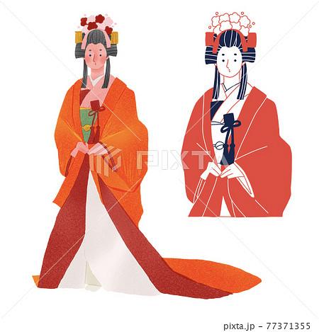 時代劇 歴史上の女性人物全身手描きイラスト 77371355
