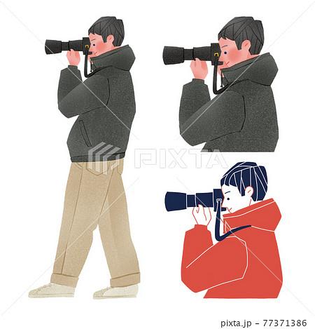 カメラマンの男性人物全身手描きイラスト 77371386