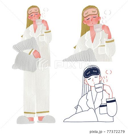パジャマとアイマスクをつけた若い女性人物全身手描きイラスト 77372279