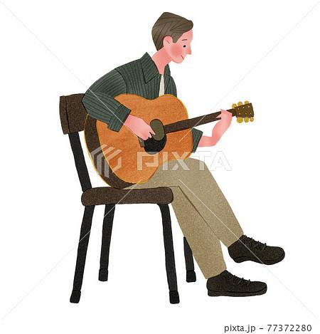 アコギギターを弾く男性人物全身手描きイラスト 77372280