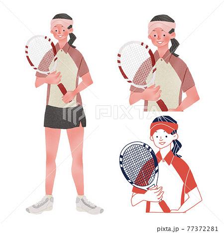 ユニフォームを着てラケットを持つテニス選手の若い女性人物全身手描きイラスト 77372281