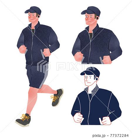 ランニングをする男性人物全身手描きイラスト 77372284