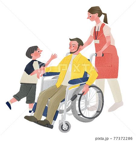 車椅子に乗る男性と車椅子を押す女性と子供人物全身手描きイラスト 77372286