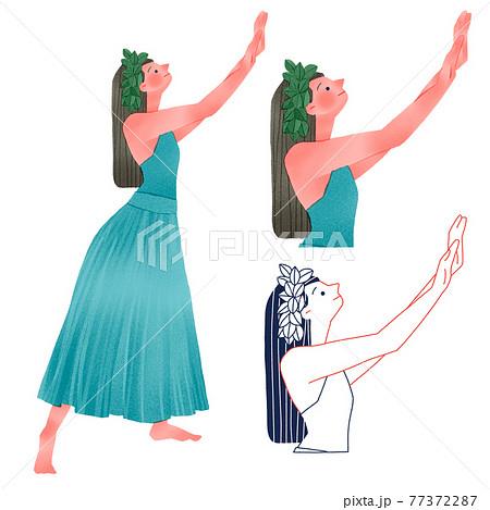 フラダンスを踊るフラガールの女性人物全身手描きイラスト 77372287