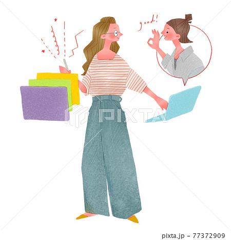 ノートパソコンやタブレットで仕事をする若い女性人物全身手描きイラスト 77372909