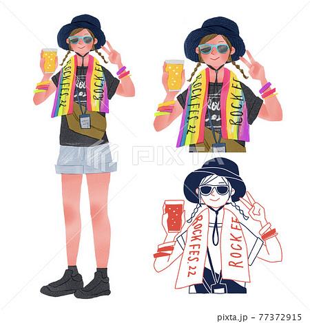 夏フェス、音楽フェスに着た若い女性人物全身手描きイラスト 77372915