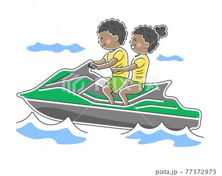 水上バイクに乗る人のイラスト 77372973