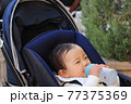 粉ミルクを飲むベビーカーに乗っている赤ちゃん 77375369