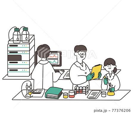 研究中の男性と女性の研究者3 77376206