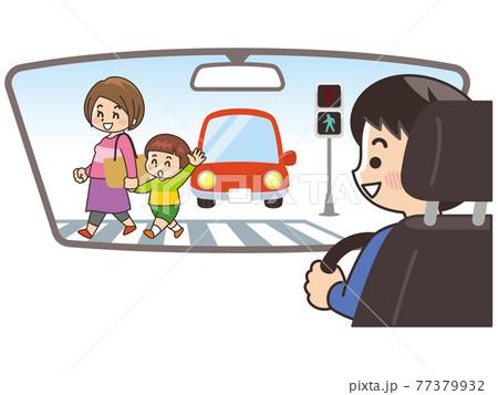 車内から横断歩道を渡る親子を確認する男性 交通安全 77379932