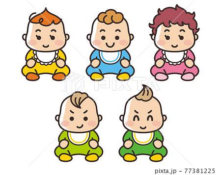 おすわりする赤ちゃん 77381225
