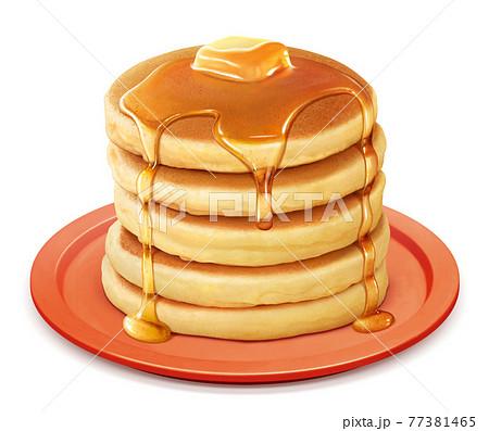 ホットケーキ パンケーキ イラスト リアル バター 皿 77381465