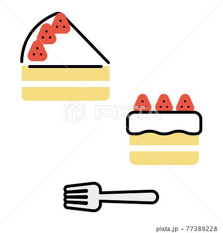 シンプルないちごのショートケーキ&フォーク 77389228