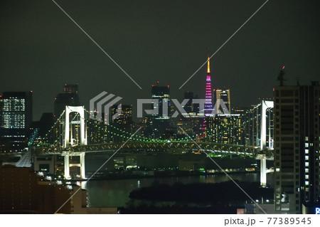 東京タワーとレインボーブリッッジ 77389545