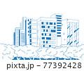 シンプルに線で描いた都会のオアシス公園の背景イラスト素材 77392428