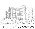 シンプルに線で描いた都会のオアシス公園の背景イラスト素材 77392429