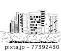 シンプルに線で描いた都会のオアシス公園の背景イラスト素材 77392430