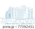 シンプルに線で描いた都会のオアシス公園の背景イラスト素材 77392431