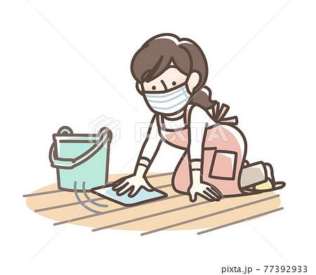 床を拭く 女性 77392933