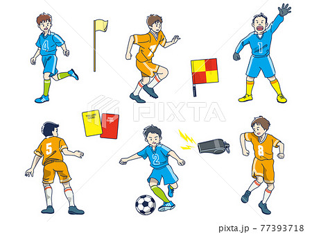 サッカーをプレイする少年 77393718