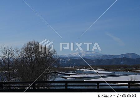 橋の上から見た冬の寒河江川と月山の風景 77393861