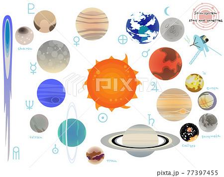 太陽系の天体と衛星のシンプルなイラストセット 77397455