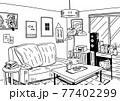 インテリアにこだわったナチュラルテイストな部屋を線でシンプルに描いた背景画 77402299