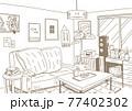 インテリアにこだわったナチュラルテイストな部屋を線でシンプルに描いた背景画 77402302