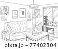 インテリアにこだわったナチュラルテイストな部屋を線でシンプルに描いた背景画 77402304