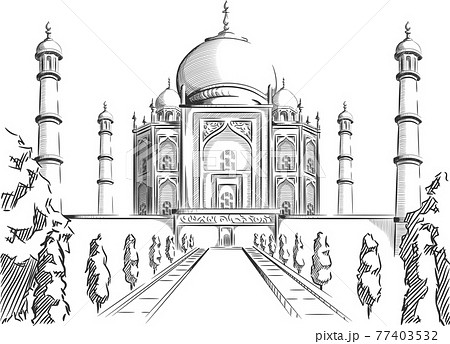 Sketch Doodle Taj Mahal Landmark India Destination Outline Vector 77403532