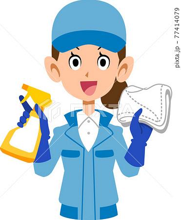 笑顔の清掃作業員の女性の上半身 77414079