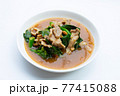 Fried flat noodle with pork and kale in gravy sauce 77415088