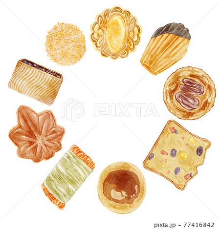 世界の焼き菓子色々セット手描き水彩風イラスト 77416842