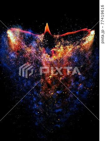 宇宙空間を羽ばたく抽象的な火の鳥 77419616