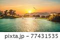 Sunset sun in Aswan 77431535