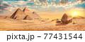 Pyramids in desert of Giza 77431544