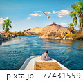 Boat driving on Nile 77431559