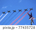MOSCOW, RUSSIA - MAY 7, 2021: Avia parade in Moscow. Group of Russian fighters Sukhoi Su-25 with painted russian flag in the sky on parade of Victory in World War II in Moscow, Russia 77435728