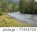 Waves, spray and foam, river Katun in Altai mountains. Siberia, Russia 77435729