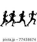 Set of silhouettes. Runners on sprint men and women on white background 77438674