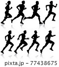 Set of silhouettes. Runners on sprint men and women on white background 77438675