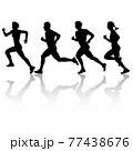 Set of silhouettes. Runners on sprint men and women on white background 77438676