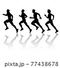 Set of silhouettes. Runners on sprint men and women on white background 77438678